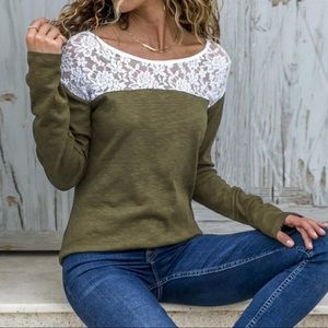Just In! Casual long sleeve lace army green Top